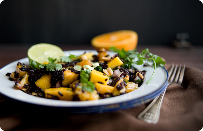 Some Kitchen Stories Black Rice Salad with Mango and Peanuts Recipe