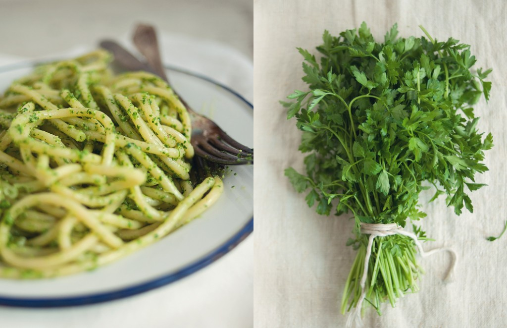 ... Stories Cook the Cover Bon Appetit June Spaghetti with Parsley Pesto