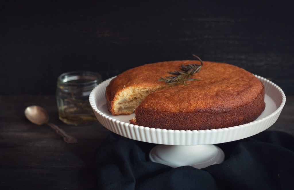 Pear Cornmeal Cake with Rosemary Syrup from Some Kitchen Stories, photo by Nicole Ziegler
