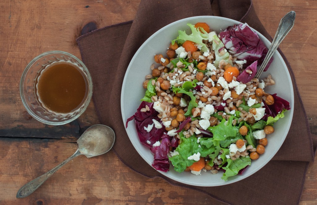 Warm Farro Salad with Chickpeas, Feta and Spicy Dressing