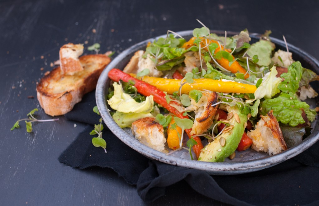Roast Carrot and Avocado Salad from Some Kitchen Stories