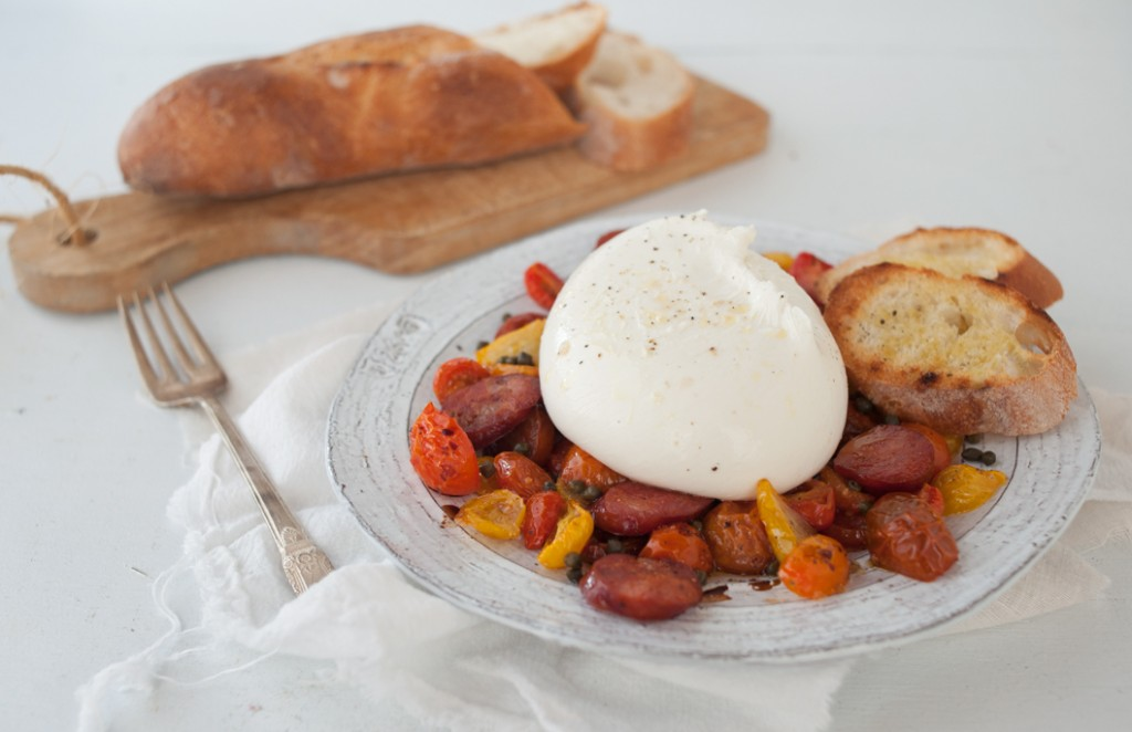 Heirloom Tomato, Chorizo and Burrata Salad