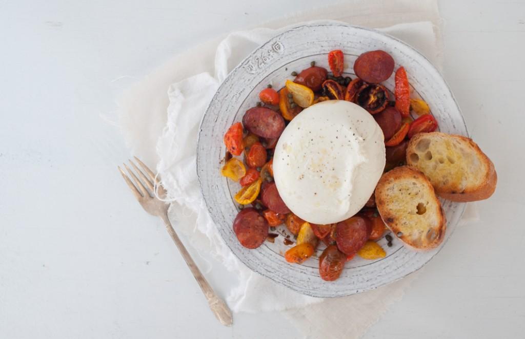 Heirloom Tomato, Chorizo and Burrata Salad